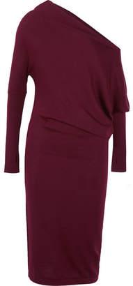 TOM FORD - One-shoulder Cashmere Midi Dress - Burgundy $1,890 thestylecure.com