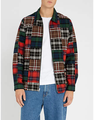 Stussy Relaxed-fit patchwork checked cotton-flannel shirt