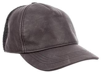 Calvin Klein Collection Leather Mesh-Trimmed Cap