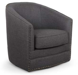 Baxton Studio Porter Modern and Contemporary Classic Retro Gray Fabric Upholstered Swivel Tub Chair