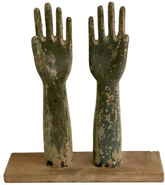 One Kings Lane Vintage Wooden Glove Mold Sculptures - Ballyhoo