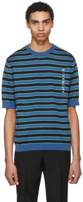Givenchy Blue Short Sleeve Striped Logo Sweater