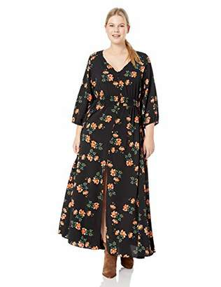 City Chic Women's Apparel Women's Plus Size 3/4 Sleeve Floral Maxi Dress,XL