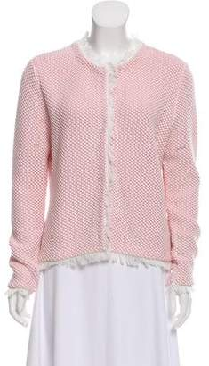 Allude Fringe-Trimmed Woven Cardigan