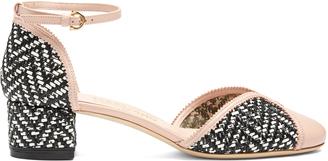 SALVATORE FERRAGAMO Edda woven-leather block-heel pumps $614 thestylecure.com