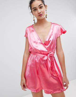 Glamorous satin wrap dress