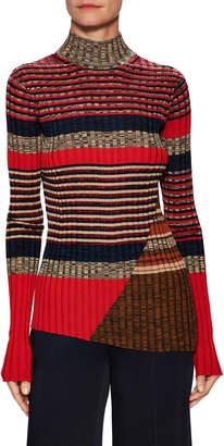 Celine Ribbed Fine Knit Asymmetric Sweater