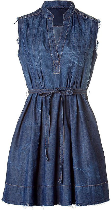 CURRENT ELLIOTT Dark Tin Belted Denim Dress