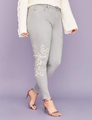Lane Bryant Super Stretch Skinny Jean - Gray with Floral Applique