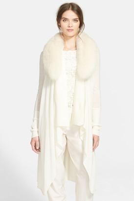 alice + olivia Azaria Genuine Fox Fur Collar Wool & Cashmere Sweater $660 thestylecure.com