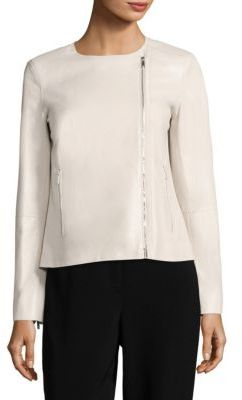 Lafayette 148 New York Christa Pebbled Leather Moto Jacket $998 thestylecure.com