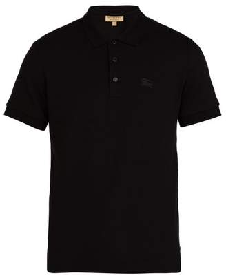 Burberry Logo Embroidered Cotton Pique Polo Shirt - Mens - Black