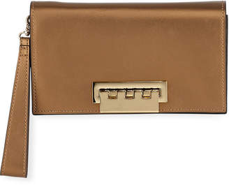 Zac Posen Earthette Metallic Leather Clutch Bag, Rust Copper