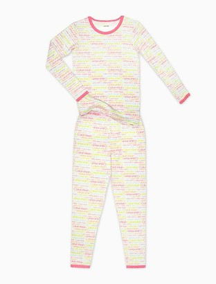 Calvin Klein girls 2-piece long sleeve sleep set