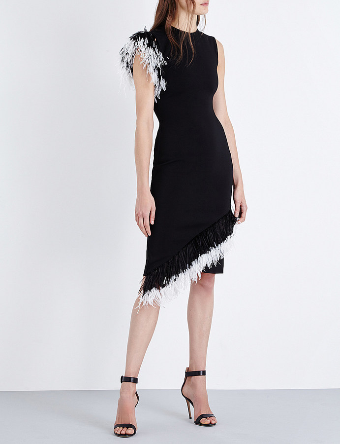 Christopher KaneChristopher Kane Feather-trim crepe dress