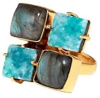 Mela Artisans Turquoise & Pearl Quatro Ring