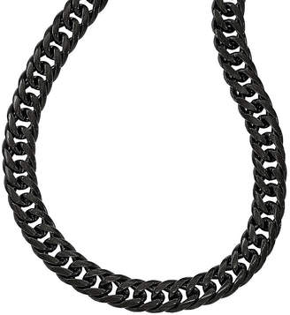 FINE JEWELRY Mens Stainless Steel Black Ip-Plated Double Curb Chain Necklace