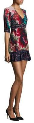 Saloni Printed Deep V-Neck Silk Mini Dress