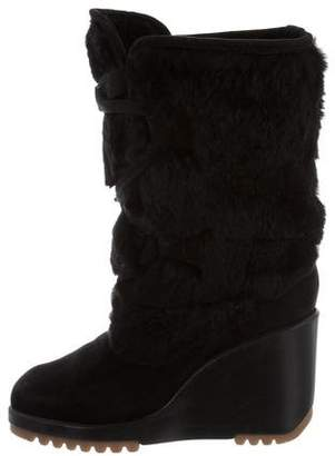 Marc Jacobs Fur-Trimmed Wedge Boots