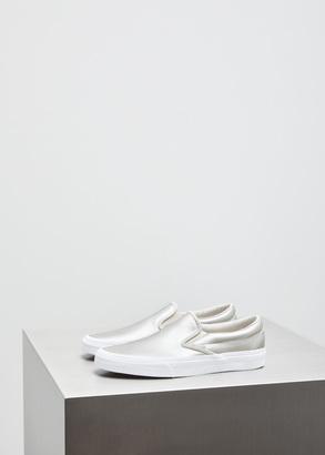 Vans silver / true white metallic classic slip-on $60 thestylecure.com