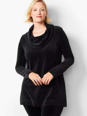 Talbots Luxe Velour Cowlneck Pullover