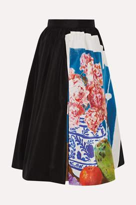 Prada Printed Silk-faille Midi Skirt - Black