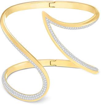 Swarovski Groove Gold-Tone Pavé-Edge Open Cuff Bracelet $199 thestylecure.com