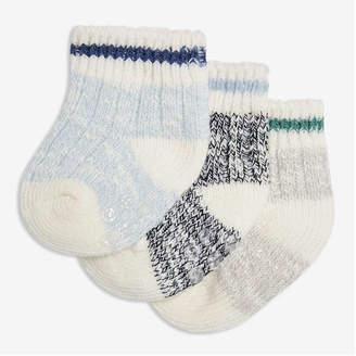 Joe Fresh Newborn Boys' 3 Pack Boot Socks, Blue (Size 3-6)