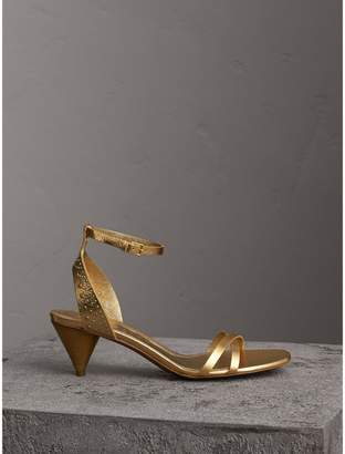 Burberry Riveted Metallic Leather Cone-heel Sandals