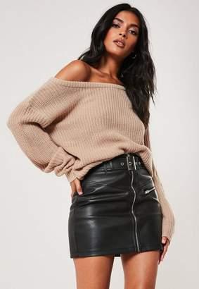 Missguided Beige Off Shoulder Knit Sweater