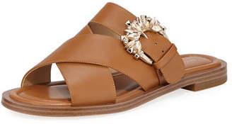 47ee781509f8 MICHAEL Michael Kors Frieda Crystal-Buckle Leather Slide Sandals