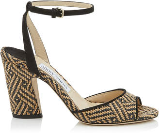 2e42eb3d9c0 Jimmy Choo MIRANDA 85 Natural and Black Woven Braided Raffia and Suede  Block Heel Sandals
