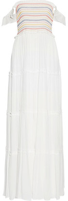 Tory Burch - Smocked Crinkled-voile Maxi Dress - White $395 thestylecure.com
