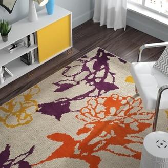 Ebern Designs Charis Light Gray/Purple Floral and Plant Rug Ebern Designs