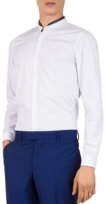 The Kooples Geo-Spring Lambskin-Collar Slim Fit Sport Shirt