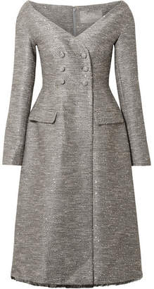 Lela Rose Sequin-embellished Tweed Dress - Gray