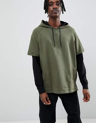 Asos DESIGN oversized hoodie in khaki with contrast double sleeves