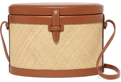 Hunting Season - Iraca Trunk Raffia And Leather Shoulder Bag - Tan