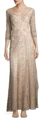 Tadashi Shoji Embellished Three-Quarter Sleeved Gown $559 thestylecure.com