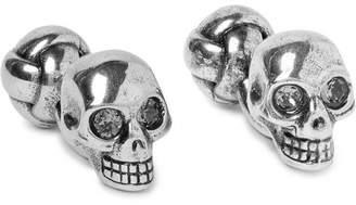 Alexander McQueen Skull Silver-Tone Crystal Cufflinks