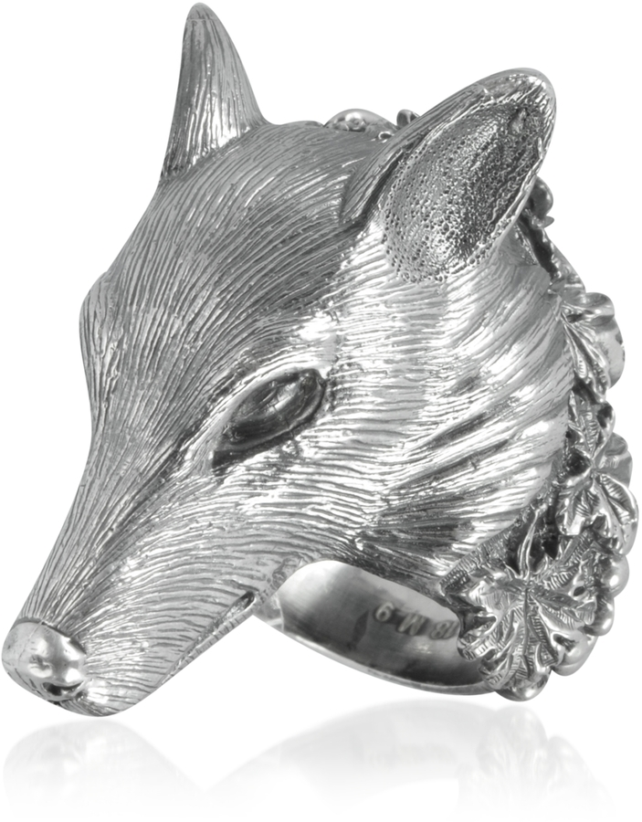 Ugo Cacciatori Sterling Silver Wolf Ring