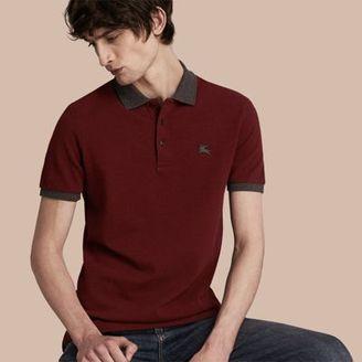 Burberry Contrast Colour Detail Cotton Piqué Polo Shirt $195 thestylecure.com