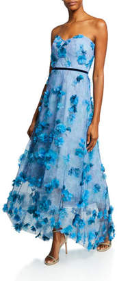 Marchesa Printed Strapless High-Low Gown with 3D Flower Degrade