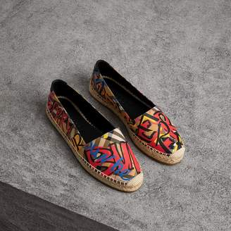 Burberry Graffiti Print Vintage Check Espadrilles , Size: 37, Yellow