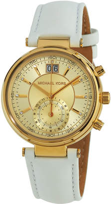 MICHAEL Michael Kors 39mm Champagne Chronograph Watch, White