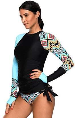 Crazycatz@ Women Long Sleeves Aztec Rash Guard Athletic Swimsuit