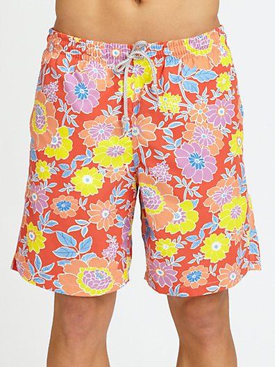 Saks Fifth Avenue Collection Floral Print Swim Trunks