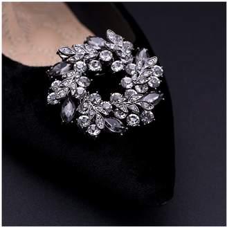 Shoe Accessories Douqu 1 Pair Luxury Wedding Bridal Rhinestone Crystal Black Ring Leaf Shoe Clips Removable Shoe Charms -5.3cm