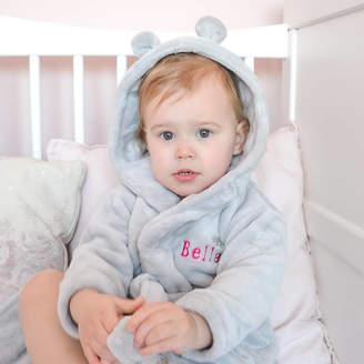 Fleece Baby DCaro Personalised Grey Robe With Ears