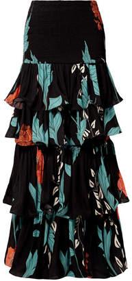 Johanna Ortiz Shirred Ruffled Floral-print Silk-chiffon Maxi Skirt